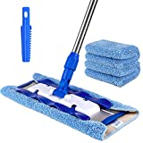 MR. SIGA Professional Microfiber Mop,Stainless Steel Handle - Pad Size: 42cm x23cm, 2 Free Microfiber Cloth Refills and 1 Dirt Removal Scrubber included,Blue - Mop