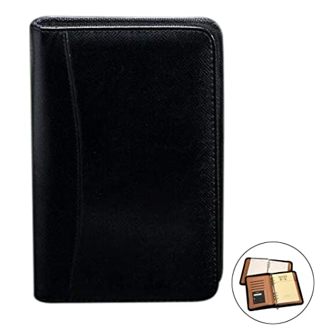 d8bbc4ef9951 Aimeio PU Leather Cover A5 Zipper Business Notebook Spiral Bound Loose-Leaf  Notepad 6 Ring Portfolio Planner Notebook Travel Journal Diary Memo Book ...