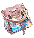 Ababalaya Shining Pink Laser Holographic Tassle Shoulder Bag Cross Body Bucket Bag