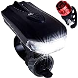 Bike Light,400 lumens LED Bicycle Front Light, USB Rechargeable Safety Lights for Outdoors, Cycling Headlight and Rear Light Both Included