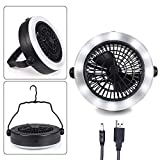 MILIJIA Camping Lantern, USB Powered Tent Light with Ceiling Fan, Battery Operated Cooling Fan, Camping Gear Equipment for Outdoor Hiking, Fishing, Emergencies, Hurricanes, Outages