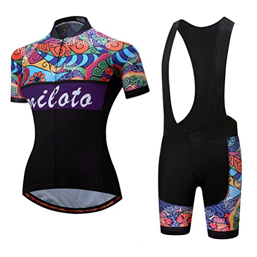 Uriah Women's Cycling Jersey Bib Shorts Sets Short Sleeve Reflective Retro Paint Size ()