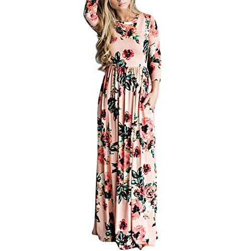 (HOOYON Women's Casual Floral Printed Long Maxi Dress with Pockets(S-5XL),Pink,Small)