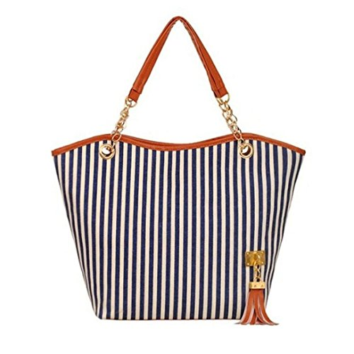 Shopper Tote Bags for Women, Kingfansion Large Stripe Canvas Bags Bulk with Tassels Decorations (Blue) (Canvas Shopper Print)