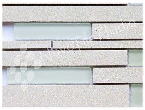 Box 10 Tiles White Glass & Ceramic Mosaic Tile 12''x12'' PARMA-MX005 (10) by NovoTileStudio.com