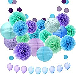 APLANET 34pcs Paper Flower Pom Pom and Paper Lantern, Polka Dot Paper Garland, Balloon for Party, Celebration, Nautical Themed Ball