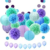APLANET 34pcs Paper Flower Pom Pom and Paper Lantern, Mermaid Party Decorations, Polka Dot Paper Garland, Balloon for Party, Celebration, Nautical Themed Ball