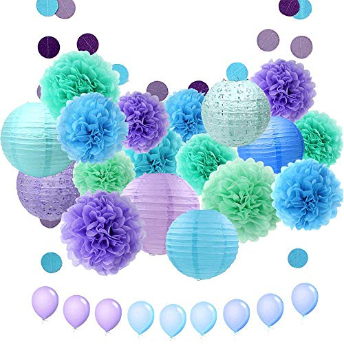 ZJHAI 34pcs Paper Flower Pom Pom and Paper Lantern, Mermaid Party Decorations, Polka Dot Paper Garland, Balloon for Party, Celebration, Nautical Themed Ball -