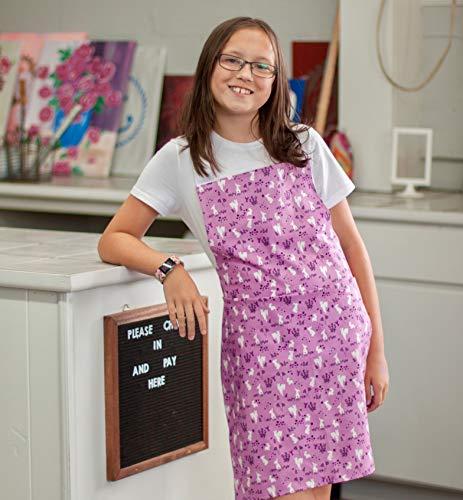 Purple Bunny Kitchen Art Craft Apron Gift for Tween Girl from Sara Sews