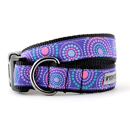 The Worthy Dog   Sunburst Dot Pattern   Adjustable Designer Pet Dog Collar , Purple, S