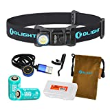 Olight H1R Nova 600 Lumens Rechargeable LED Headlamp w/2x RCR123A Batteries, Magnetic USB Charging Cable, and LumenTac Battery Organizer (Black, Cool White)