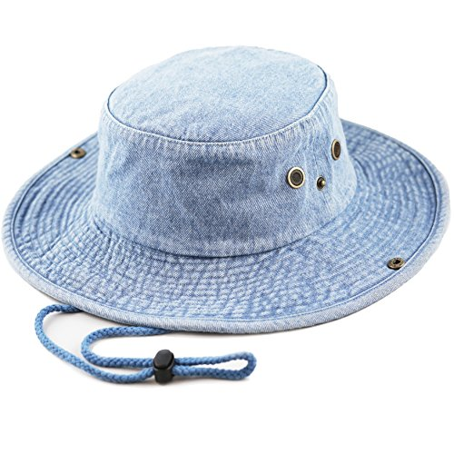 THE HAT DEPOT 300N1510 Wide Brim Foldable Double-Sided Outdoor boonie Bucket Hat (L/XL, Lt. - Brim Bucket Large