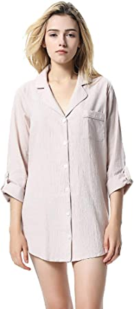 HGDR Camisas De Noche De Algodón para Mujer Camisón De Manga Larga Camisa De Dormir con Botones Camisón,Beige-M: Amazon.es: Hogar