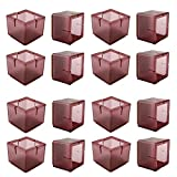 Chair Leg Caps, WarmHut 16pcs Transparent Clear Silicone Table Furniture Leg Feet Tips Covers Wood Floor Protectors, Felt Pads, Prevent Scratches (Square)(Tea)