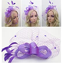 Vimans Women's Bow Feather Detachable Cocktail Party Veil Fascinator Hair Clip Hat
