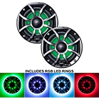 Wet Sounds REVO 6-XSB-SS Black XS/Stainless Grill 6.5 Inch Marine LED Coaxial Speakers with RGB LED Speaker Rings
