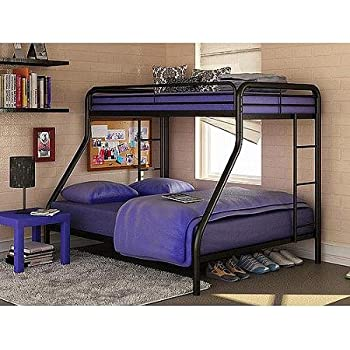 Twin Over Full Bunk Bed Metal Dorel Multiple Colors Space Saving Design Durable Steel Frame Construction Black