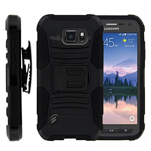 S6 Active Case, S6 Active Holster, Two Layer Hybrid Armor Hard Cover with Kickstand and Unique Graphic Images for Samsung Galaxy S6 Active SM-G890 by MINITURTLE - Black