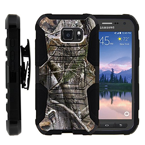 Miniturtle G890 Double Layer Armor Hard Cover with Kickstand for Samsung Galaxy S6 Active - Tree Bark Hunter Camouflage