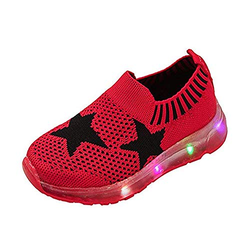 Kids LED Slip on Sneakers Star Breathable Lightweight Soft Knit Light Up Shoes Toddler Boys Girls Walking Flashing Sneakers ()