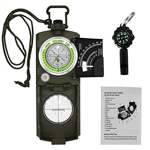 Professional Compass Metal Pocket Size VOVCIG Waterproof Shakeproof 50mm Dial Compass Multifunction Military Army Sighting Compass with Inclinometer for Camping Hiking Army Green by VOVCIG