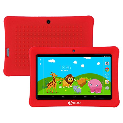 "Contixo Kids Safe 7"" Quad-Core Tablet 8GB, Bluetooth, Wi-Fi, Cameras, 20+ Free Games, HD Edition w/ Kids-Place Parental Control, Kid-Proof Case, 2017 Best Christmas Gift (Red)"