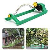 Nesix Lawn Sprinkler, Oscillating Lawn Sprinkler Watering Garden Pipe Hose Water Flow with Connector (Green)