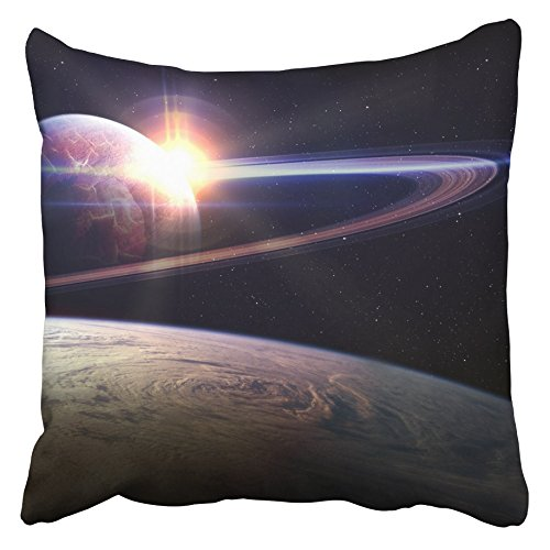 Emvency Decorative Throw Pillow Covers Cases Purple Cosmos Awesome Sunrise in Space This Furnished NASA Blue Fantasy Universe Planet Dust 16x16 inches Pillowcases Case Cover Cushion Two Sided ()