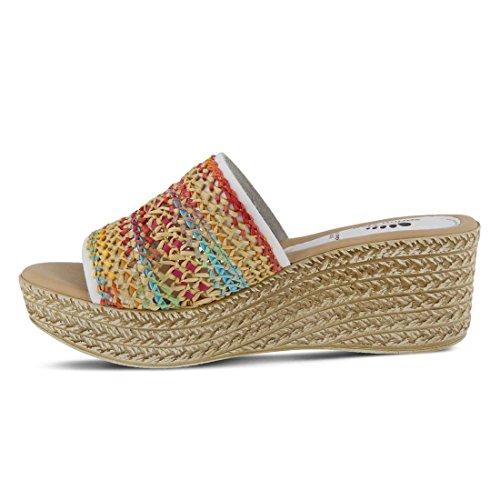 Women's Step Wedge White Sandal Calci Spring FAzqPxT1w