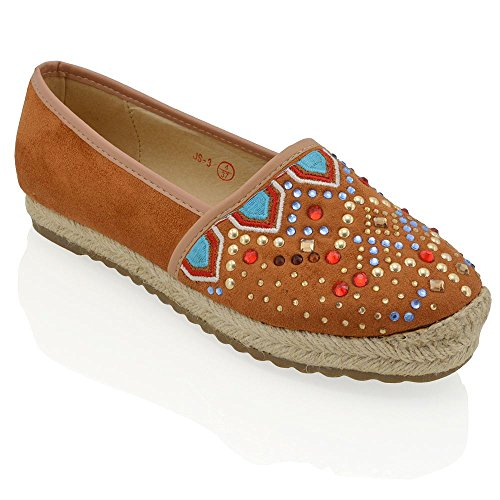 ESSEX GLAM Womens Flat Diamante Espadrilles Pumps Ladies Slip On Holiday Casual Shoes Mocca/Brown Faux Suede ymJzgN