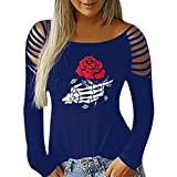 Franterd Happy Halloween – Women Blouses Plus Size Finger Skeleton Rose Halloween Plain Shirts Hollow Out Shoulder Tops