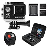 REMALI 4K Ultra HD Sports Action Camera, 1080P@60fps, 12MP, WIFI, Waterproof 30m, 2.4G Remote, 170° Wide Angle, 2