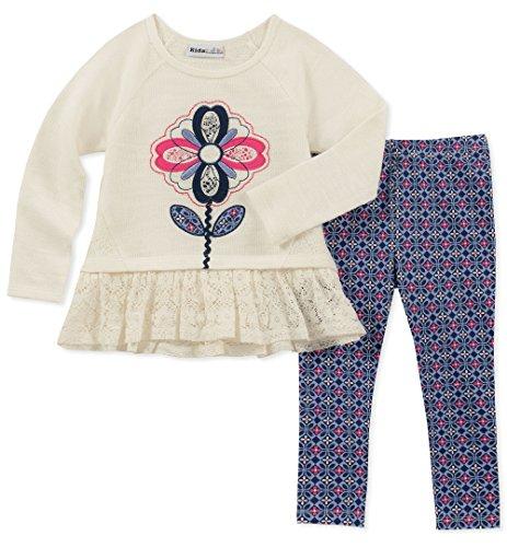 Kids Headquarters Girls' Toddler 2 Pieces Legging Set, White Novelty/Print, 4T