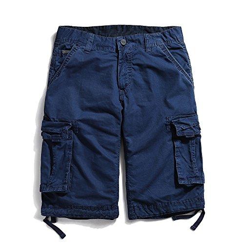 OCHENTA Men's Cotton Casual Loose Fit Cargo Shorts #3229 Sapphire Blue 40