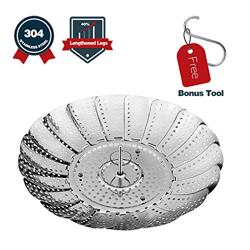 Vegetable Steamer Basket 304 Stainless Steel with Anti-Scald Hook and Extended Legs, Diameter 5.3 to 9.3 Inch