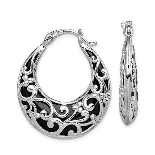 Sterling Silver Onyx Hinged Hoop Earrings 33x29 mm