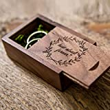 How about forever? Walnut Wood Ring Box with moss filling for Proposals & Engagements - Small Wedding Ring Bearer Box