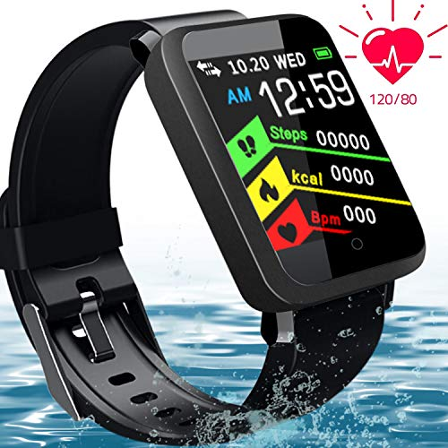 Fitness Tracker Activity Smart Watch with Heart Rate Monitor-1.44'' Large Color Screen IP67 Waterproof Blood Pressure Sleep Monitor Pedometer Calorie Counter Smart Wrist Band for Men Women Android iOS