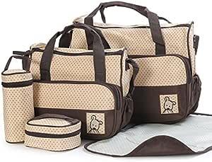 5PCS حقيبة مومياء متعددة الوظائف حقيبة الطفل زهرة ياو القماش myb11-05