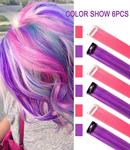 Pink and Purple Wig Pieces for Kids Straight Clip in Colored Hair Extensions for Girl (Purple Pink)