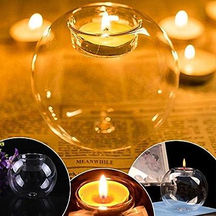KUMOPYU New Round Light Hollow Decorazione Palla Vetro Trasparente Portacandele da t/è Portacandele Catering Decorazione da Giardino per Matrimoni Forniture di Cera per T/è-10cm Lunga Vita Alta qualit/à
