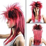 TOOGOO(R) Perruque/Cheveux postiches Noir + Rouge Style punk rock Pour le carnaval Deguisement