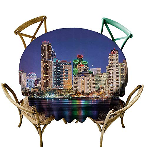 StarsART Wholesale tablecloths Apartment Decor Collection,Colorful Skyline San Diego at Night North San Diego Bay Boats Architecture Urban Picture,Navy D60,Round Tablecloth