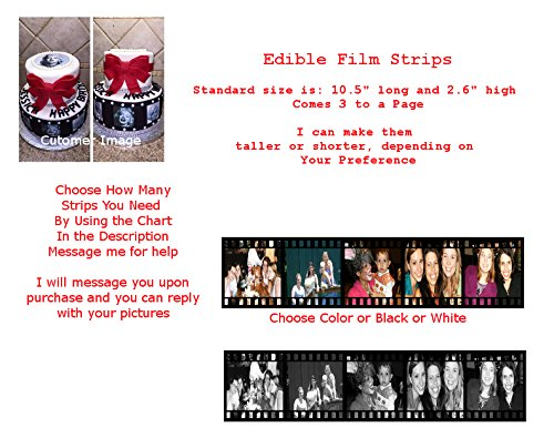 Film Strip Movie Reel Your Own Picture Edible Frosting Image Cake Strip Borders-3/page by A Birthday Place