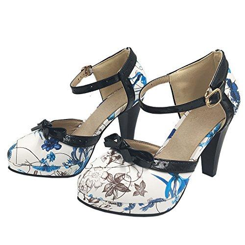 COOLCEPT Damen D Orsay Sandalen Hohe Schuhe Size 0-11 8 Colors Blu Flower
