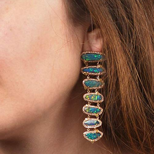 Natural 3.58 Ct Pave Diamond 20.84 Ct Blue Opal Long Dangle Earrings Solid 18k Rose Gold Gemstone Wedding Jewelry Bridal Gifts
