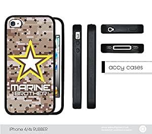 Marine Camo BROTHER iPhone 4 4s Rubber Silicone TPU Cell Phone Case