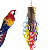 Cheap Loneflash Bird Chewing Stand Bite Toys -Being of Your Parrots – Nibbling Keeps Beaks Trimmed – Preening Keeps Feathers Clean – Colorful Circle Column Attract Pet's Attention