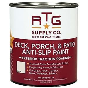 RTG Deck, Porch, Patio Anti-Slip Paint (Quart, White)