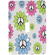 3dRose lsp_164553_1 Girly Pink, Lime and Blue Peace Sign Flowers Light Switch Cover